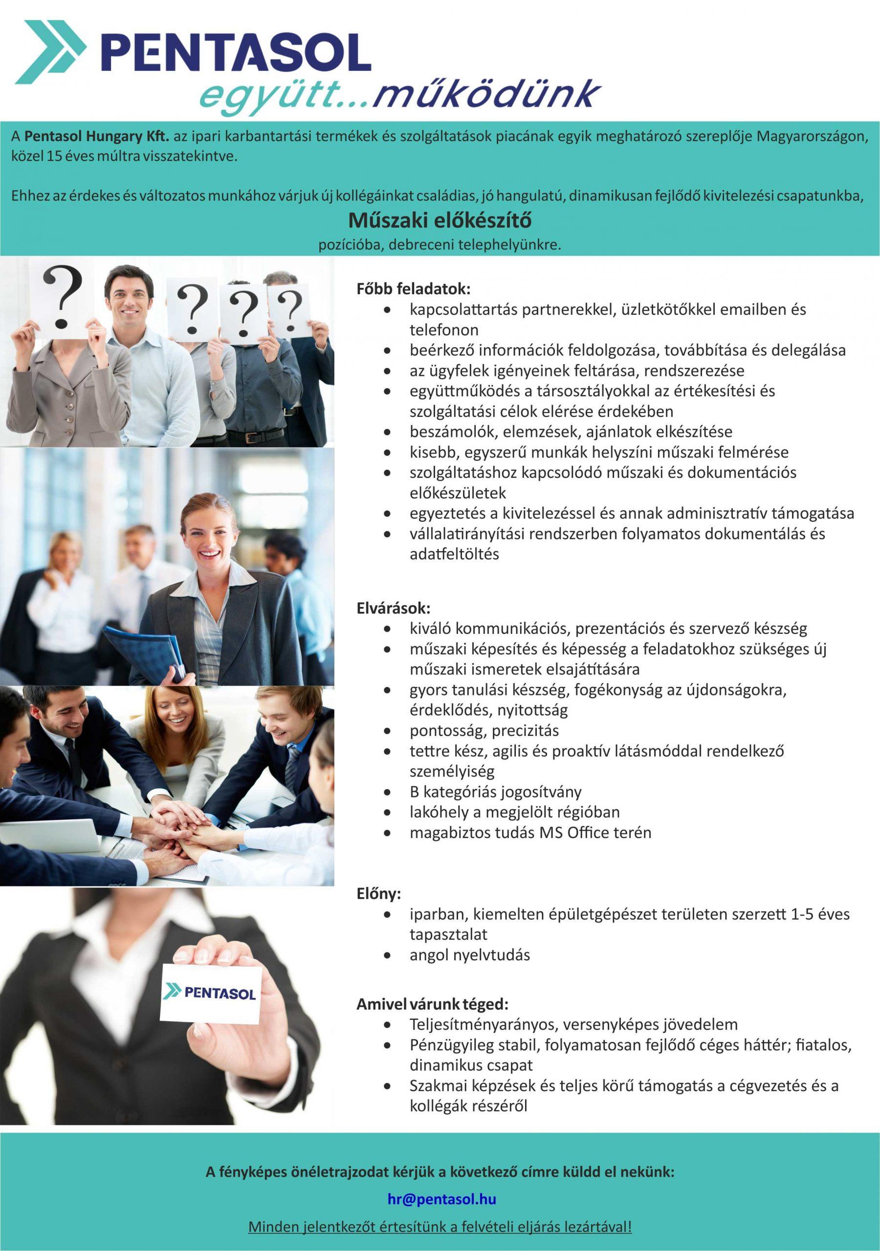 Műszaki előkészítő kollégát keresünk
