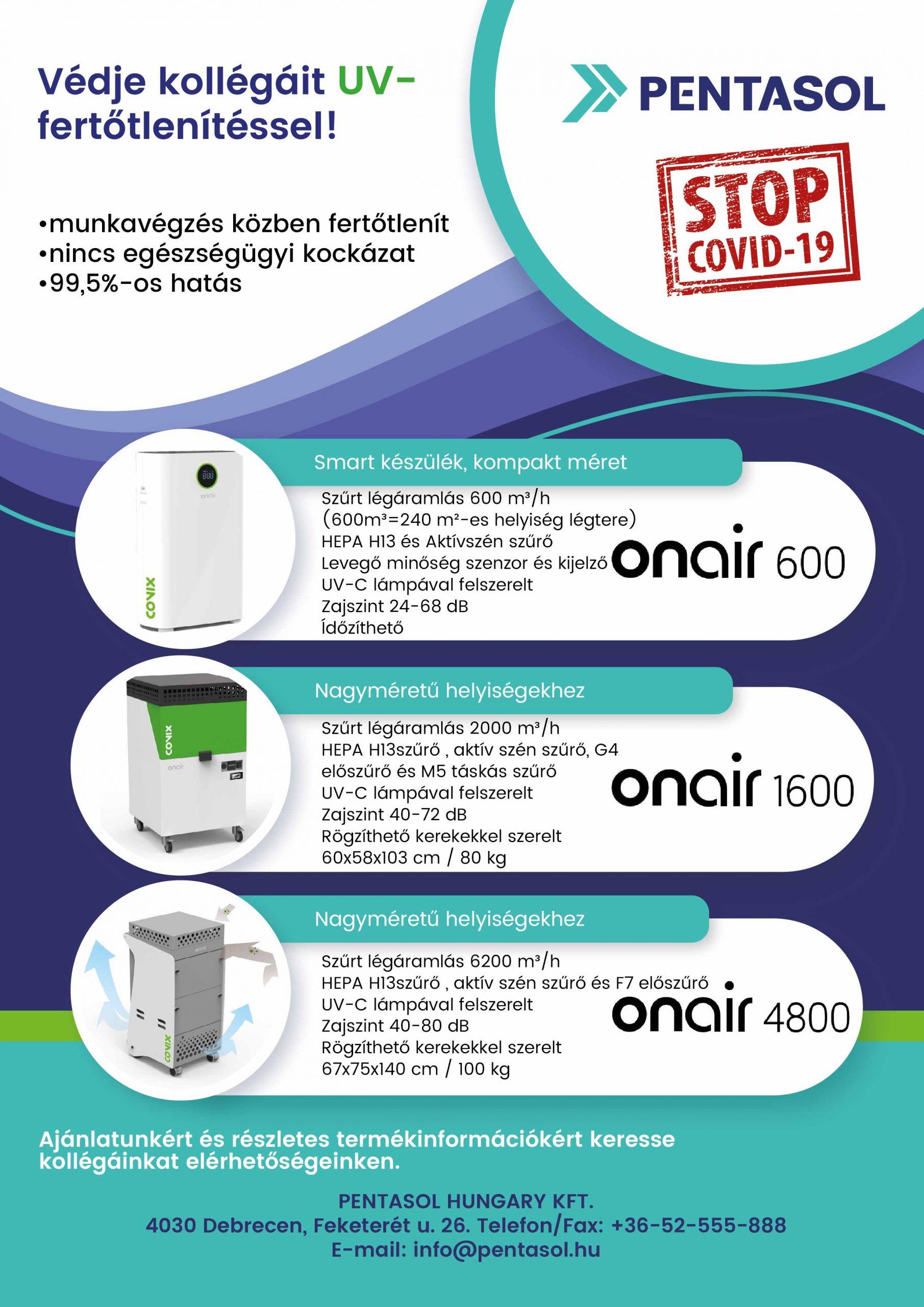 UV-fertőtlenítő, légtisztító készülékek